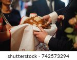 russian wedding bread with salt | Shutterstock . vector #742573294