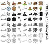 sawmil and timber set icons in...   Shutterstock .eps vector #742577500
