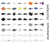 Aquarium Fish Set Icons In...