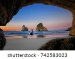 view from the cave of wharariki ... | Shutterstock . vector #742583023