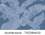 banana leaf tropical seamless... | Shutterstock . vector #742584610