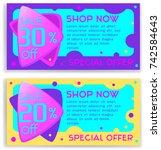 bright vector set of discount ... | Shutterstock .eps vector #742584643