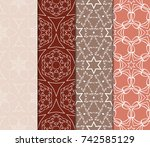 set of seamless floral pattern... | Shutterstock .eps vector #742585129