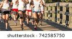many high school girls racing... | Shutterstock . vector #742585750