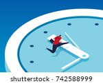 businessman race against time | Shutterstock .eps vector #742588999