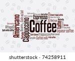 wordcloud of coffee   Shutterstock .eps vector #74258911