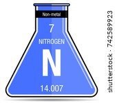 nitrogen symbol on chemical... | Shutterstock .eps vector #742589923