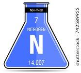 nitrogen symbol on chemical... | Shutterstock .eps vector #742589923