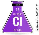 chlorine symbol on chemical... | Shutterstock .eps vector #742590139
