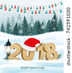 christmas holiday background... | Shutterstock .eps vector #742591030