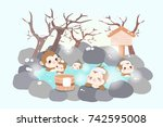 cute cartoon money enjoy with... | Shutterstock .eps vector #742595008