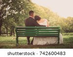 happy dating couple hugging on... | Shutterstock . vector #742600483
