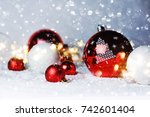 christmas balls on the snow. | Shutterstock . vector #742601404