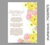romantic invitation. wedding ... | Shutterstock . vector #742609873