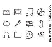 multimedia icon set with laptop ...