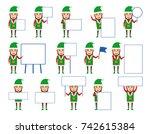 set of christmas elf characters ...   Shutterstock .eps vector #742615384
