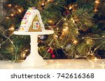 gingerbread house on the... | Shutterstock . vector #742616368