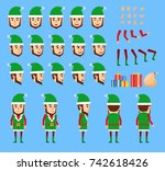 christmas elf in green suit...   Shutterstock .eps vector #742618426