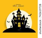 happy halloween design... | Shutterstock .eps vector #742619728