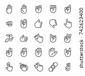 hand sign icon set vector... | Shutterstock .eps vector #742623400