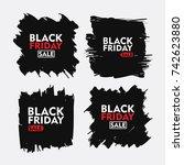 black friday sale set. flat... | Shutterstock .eps vector #742623880