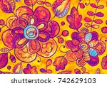 seamless pattern with fantasy... | Shutterstock . vector #742629103