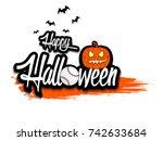 banner happy halloween and... | Shutterstock .eps vector #742633684
