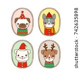 collection of cute portrait... | Shutterstock .eps vector #742635898
