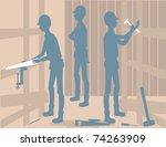 a group of construction men. | Shutterstock .eps vector #74263909