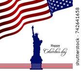 columbus day. usa flag ...   Shutterstock .eps vector #742641658