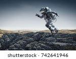 spaceman running fast. mixed...   Shutterstock . vector #742641946