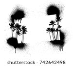 summer stencil frame with palms   Shutterstock .eps vector #742642498