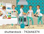 super woman housewife wife who... | Shutterstock .eps vector #742646374