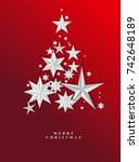 christmas red starry background.... | Shutterstock .eps vector #742648189