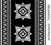 aztec embroidery pattern design ... | Shutterstock .eps vector #742649584
