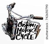 custom motorcycle poster | Shutterstock . vector #742650790