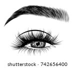 hand drawn woman's fresh makeup ... | Shutterstock .eps vector #742656400