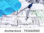 architectural blueprints and...   Shutterstock . vector #742660060