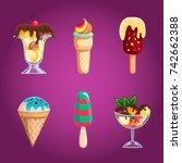 set with cartoon ice cream.... | Shutterstock . vector #742662388