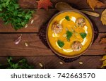 delicious cream of pumpkin soup ... | Shutterstock . vector #742663570