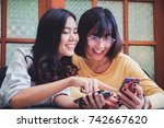 excited young woman with online ... | Shutterstock . vector #742667620