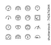 tachometer icon set. collection ... | Shutterstock .eps vector #742676344