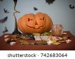 halloween day with a pumpkin... | Shutterstock . vector #742683064