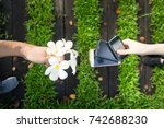 mobile and flower   technology... | Shutterstock . vector #742688230