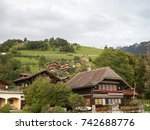 houses on mountains at gunten ...