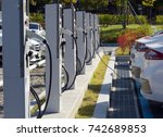 electric car charging station... | Shutterstock . vector #742689853