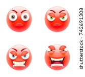 set of angry emoticons. set of... | Shutterstock .eps vector #742691308
