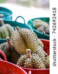 Small photo of Dur-ian fruits food in Thailand, Selective Focus.