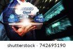 hybrid cloud computing service  ... | Shutterstock . vector #742695190
