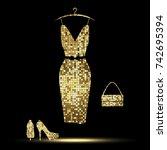luxurious golden  dress  high... | Shutterstock .eps vector #742695394